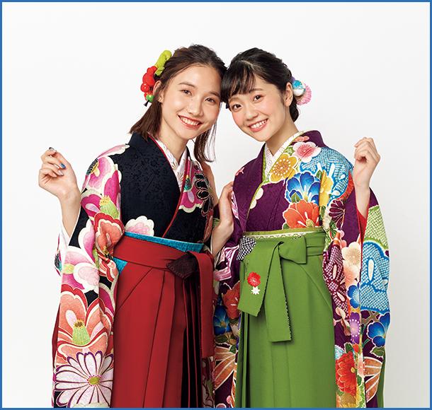 きもの、半幅帯、袴 3色の組み合わせ